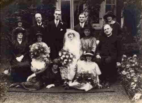 1922 September wedding of George and Winifred Whitehead.