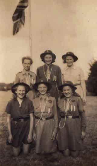 1944 Guide Camp showing 6 guides including Christine and Beryl.