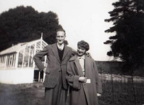 November 1954 Roy and Christine at Lord Rayleigh's walled garden.