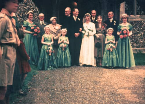 October 1955 wedding of Christine and Roy at Terling.