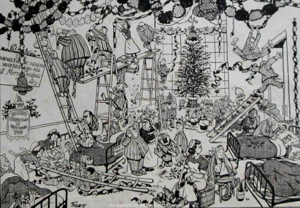 A 1955 Giles cartoon of a hospital ward at Christmas.