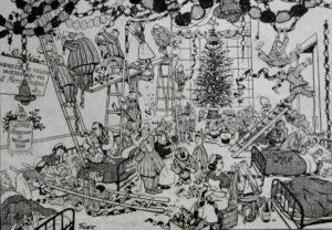 A 1955 Giles cartoon of a hospital ward at Christmas. What mayhem!