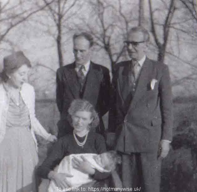 Peter's Christening with Roy, Christine, Moya & George Whitehead in February1957.