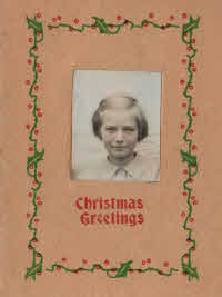 Christine's portrait on a Christmas greetings card.