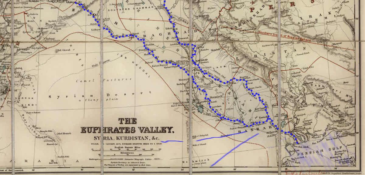 Map of Euphrates Valley, site of the Garden of Eden?