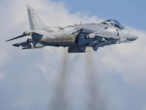 Harrier jump jet hovering in the air.