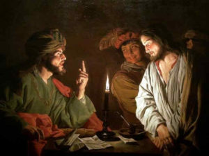 Jesus Christ on trial before Caiaphas the High Priest.