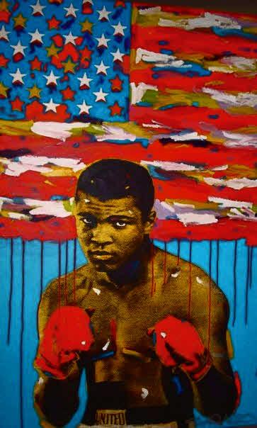 Painting of Mohammed Ali by pop artist John Stango.