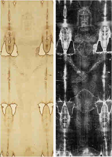 Turin Shroud showing as it appears and then what it looks like as a photo negative.