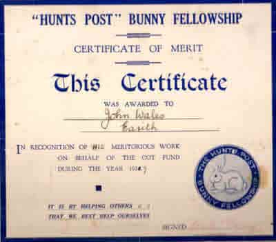 Hunts Post Bunny Fellowship Certificate.