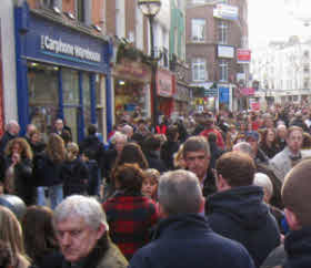 A Cambridge street crowded with people.