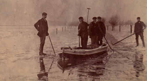 A ferry boat to go across the flooded Earith Causeway.