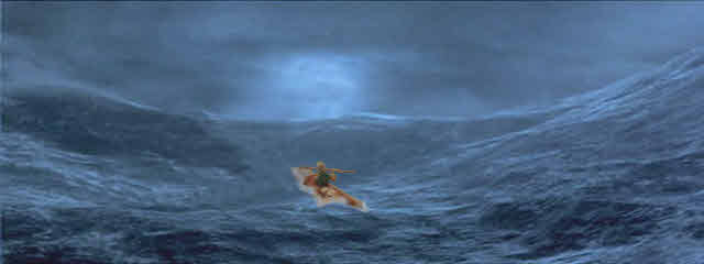 A Kayak in heavy seas.