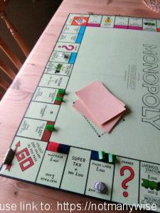 Monopoly game in progress.
