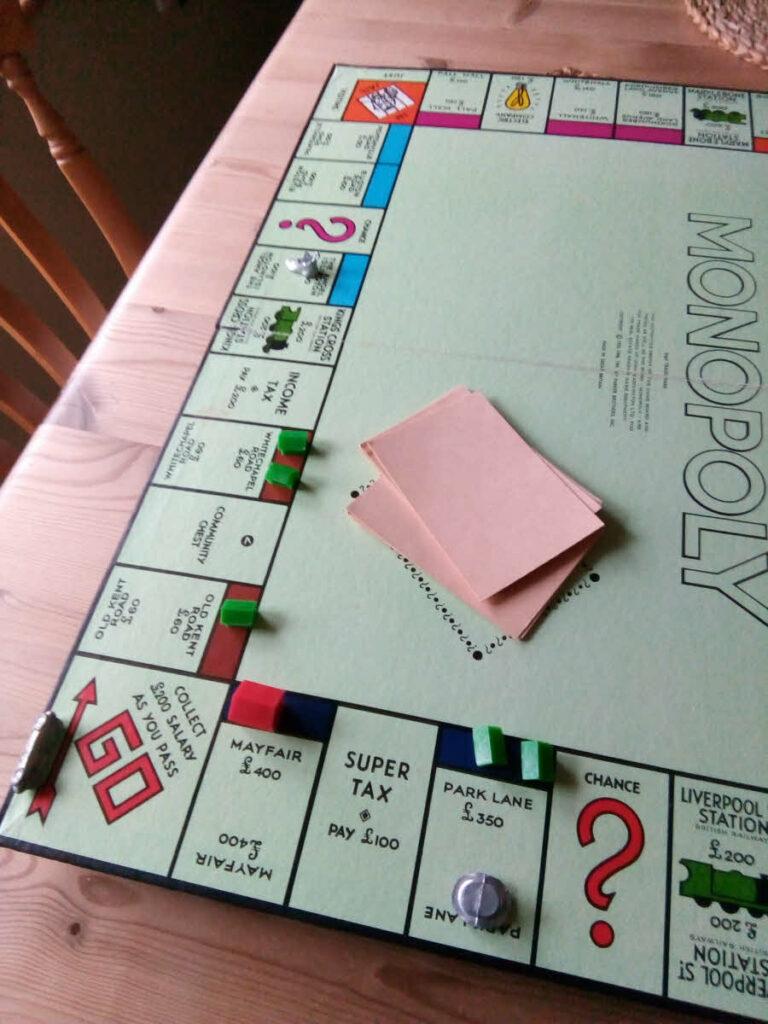 Monopoly game in progress.