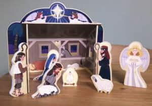 A wooden Nativity set.