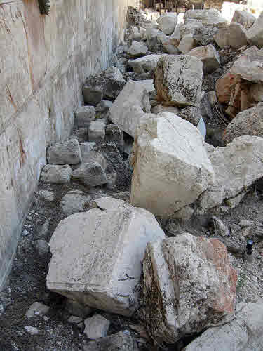 Large stones from the Temple knocked down by Roman battering rams.